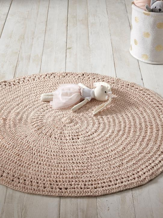 Tapis crochet rond Nude rose+Ocre