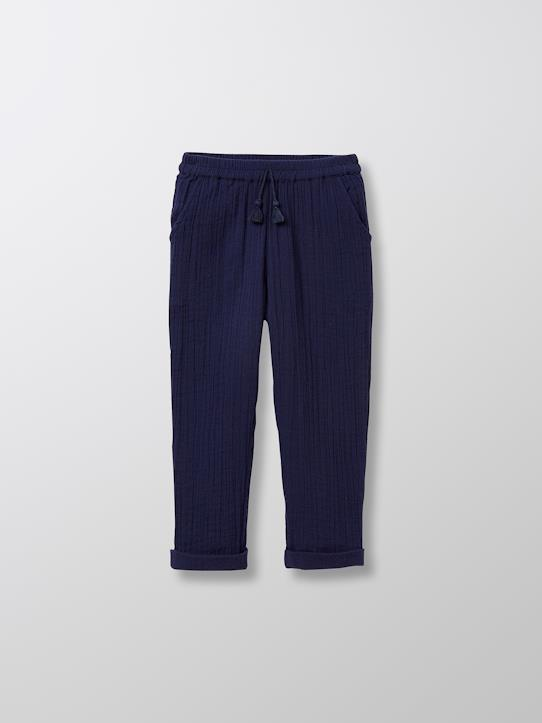 Pantalon coton double gaze fille Bleu glacier+Eclipse+Safran