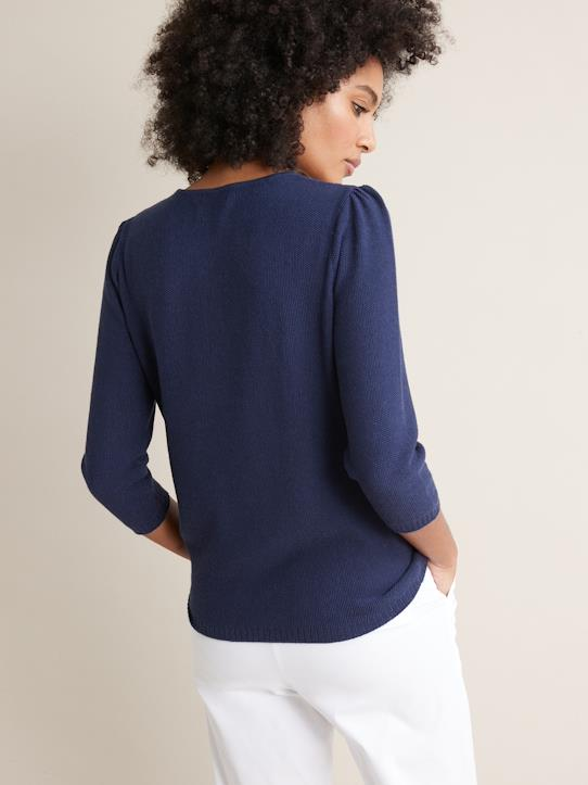 Pull femme maille fantaisie Bleu Abysse+Jaune solaire