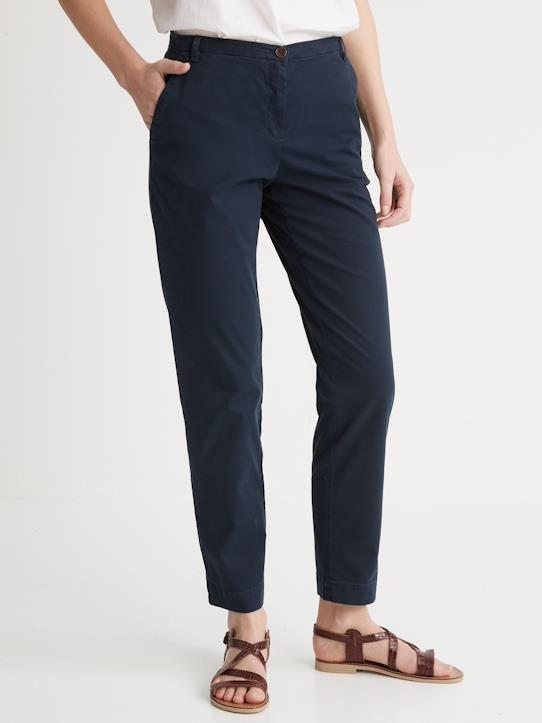 Femme-Pantalons, jeans-Chino-Chino femme en coton stretch