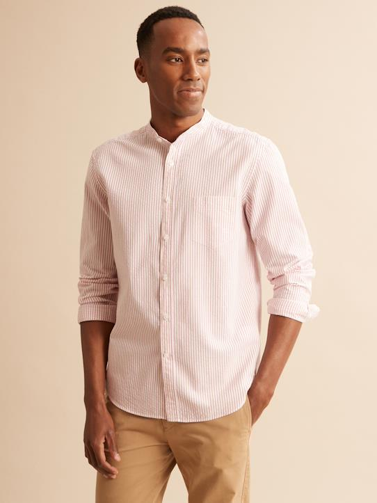 Chemise col mao Slim Fit rayée homme Blanc/rose