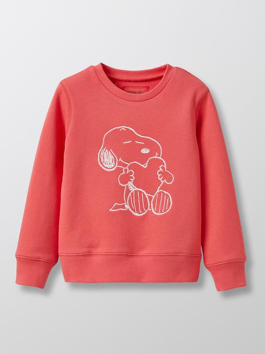 Sweat fille Cyrillus X PEANUTS™ - Collection Snoopy Blanc+Framboise vif