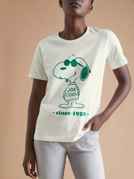 T-shirt femme Cyrillus X Peanuts® - Collection Snoopy Vanille print vert