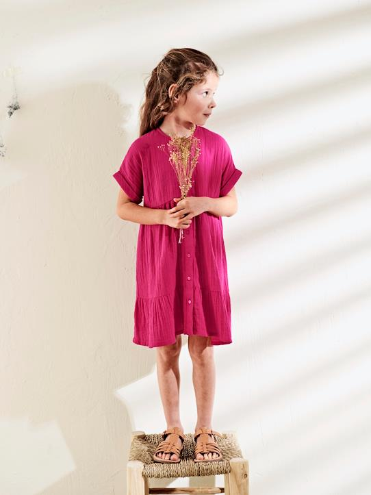 Fille-Robes-Robe-chemisier coton double gaze fille