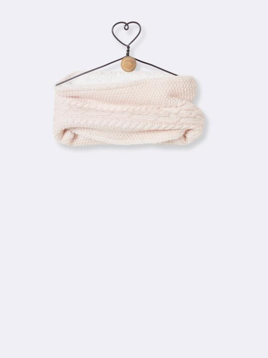 Snood doublé sherpa Gris clair chiné+Rose pâle chiné