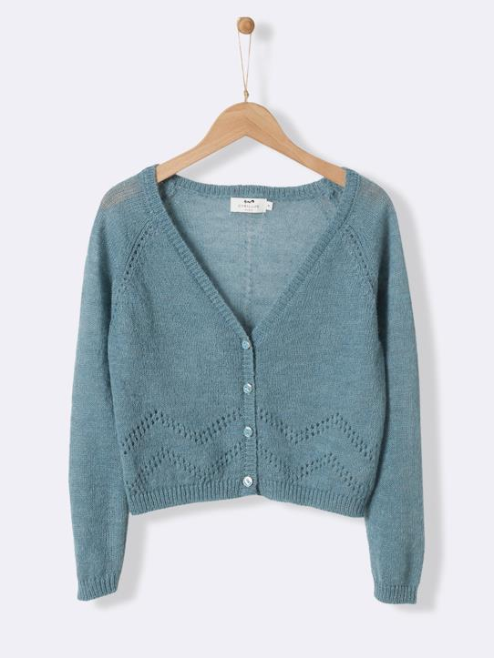 La Collection Printemps-Pull-gilet laine et mohair fille