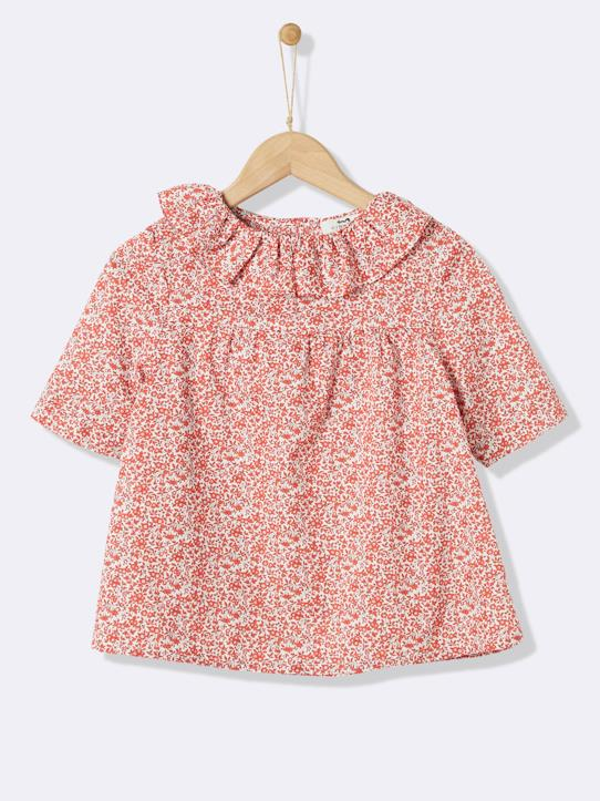 Blouse en tissu Liberty fille Liberty Chamomille (rouge)