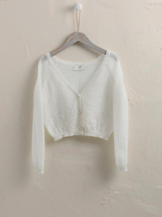 Mailles exquises-Pull-gilet laine et mohair fille