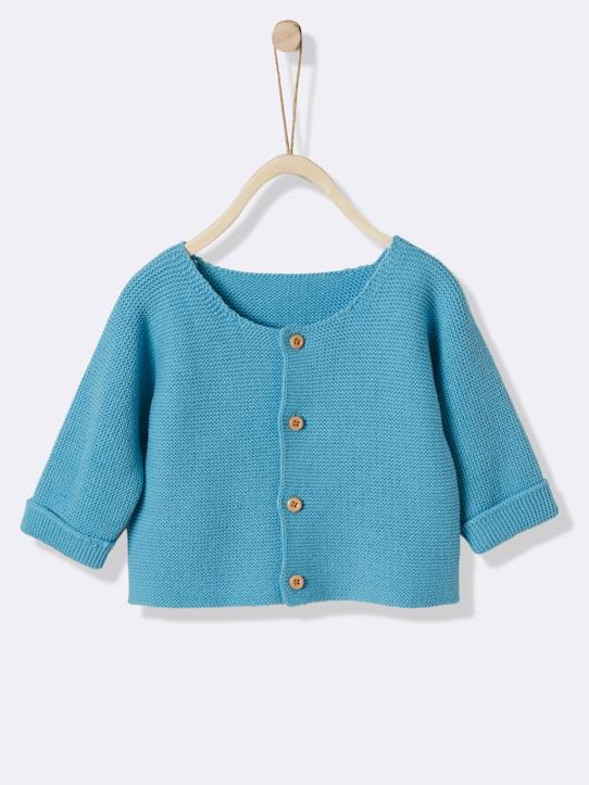 Cardigan point mousse bébé Bleu Azur+Rose pâle+Vanille