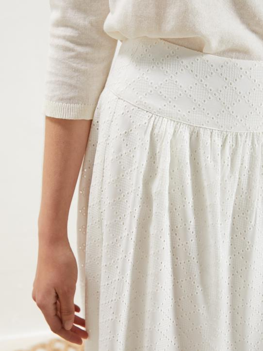 Jupe femme en broderie anglaise Off White
