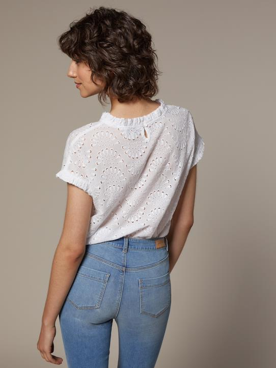 Top femme en broderie anglaise Anthracite+Blanc