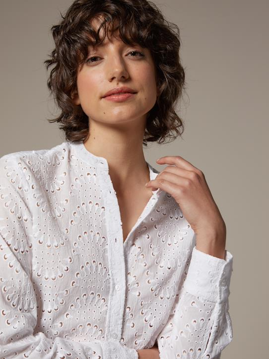 Chemise col mao femme en broderie anglaise Anthracite+Blanc