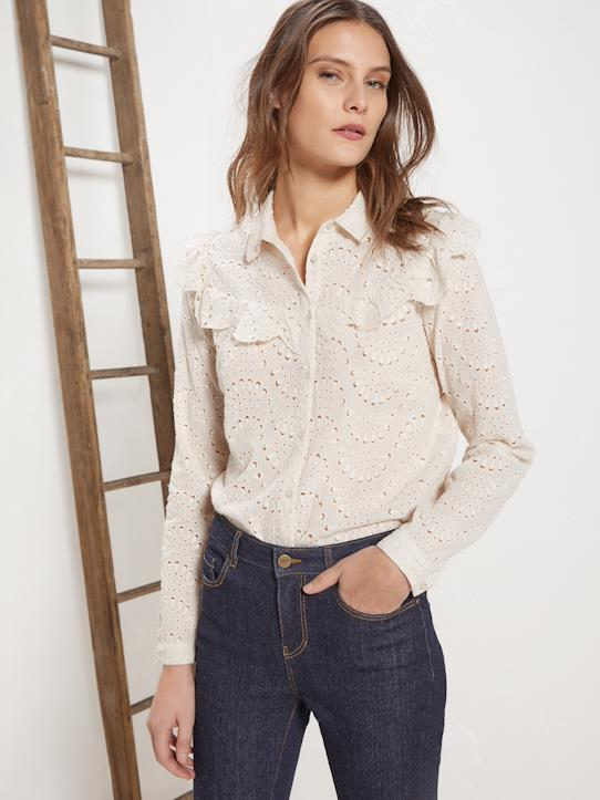 Femme-Chemises, blouses-Chemises-Chemise femme en broderie anglaise