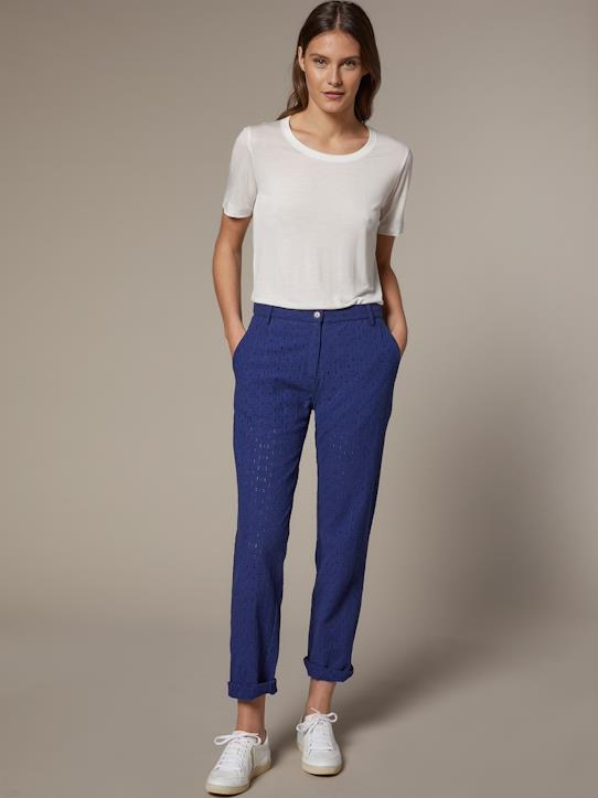 Femme-Pantalons, jeans-Chino-Pantalon chino femme en broderie anglaise