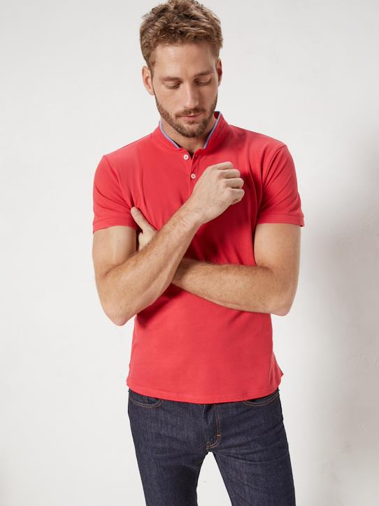 Homme-T-shirts, polos-Polo col mao homme manches courtes