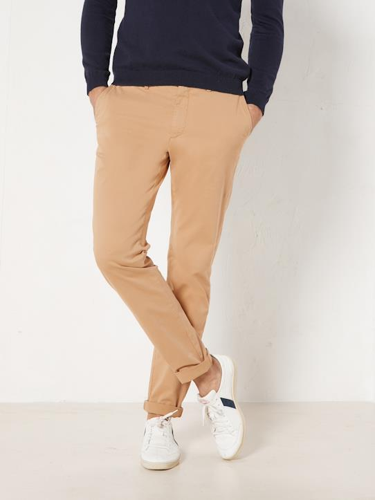Chino Slim Fit Homme Paulo - Version Light Bleu grisé+Caramel+Kaki clair+Marine