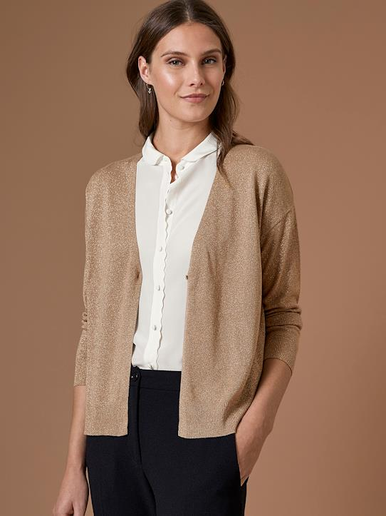 Cardigan irisé femme Noisette light gold