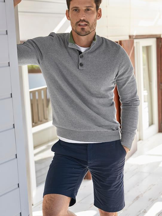 La Collection Printemps-Homme-Pull homme col montant boutonné
