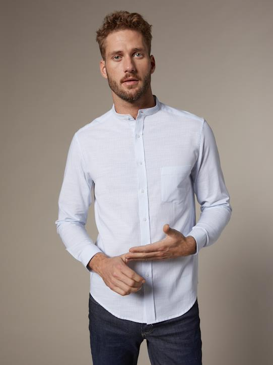 Homme-Chemises-Chemise Slim Fit rayée homme col mao