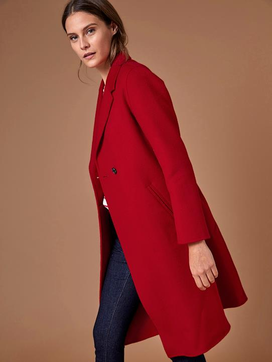 Manteau femme en lainage double face Carmin