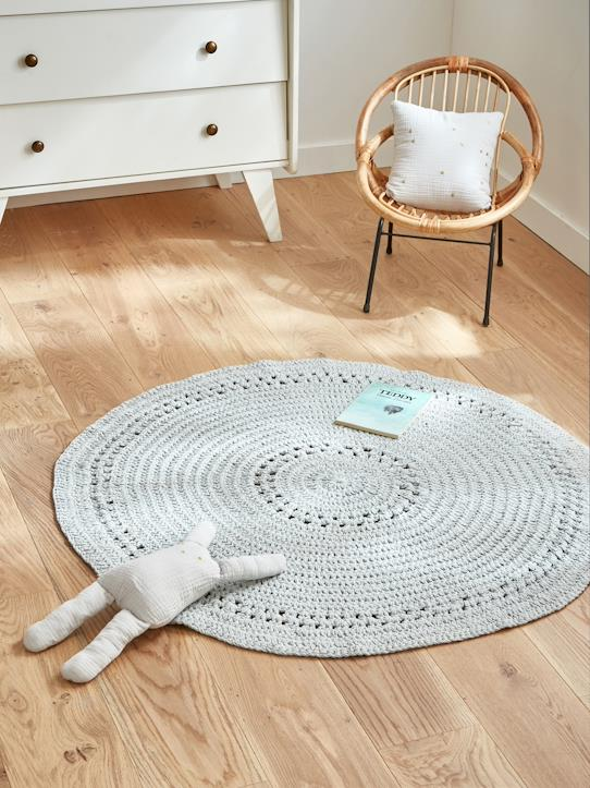 Tapis crochet rond Gris+Marine+Nude rose