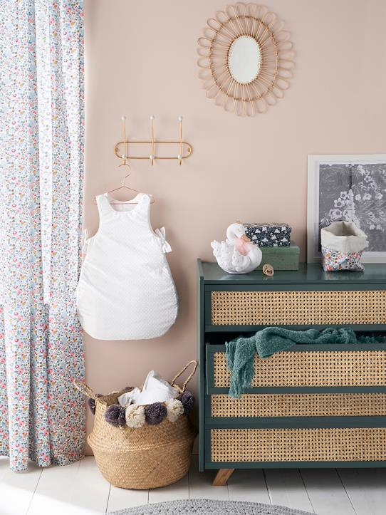 Commode cannage BILBOQUET DECO Gris+Nude+Vert
