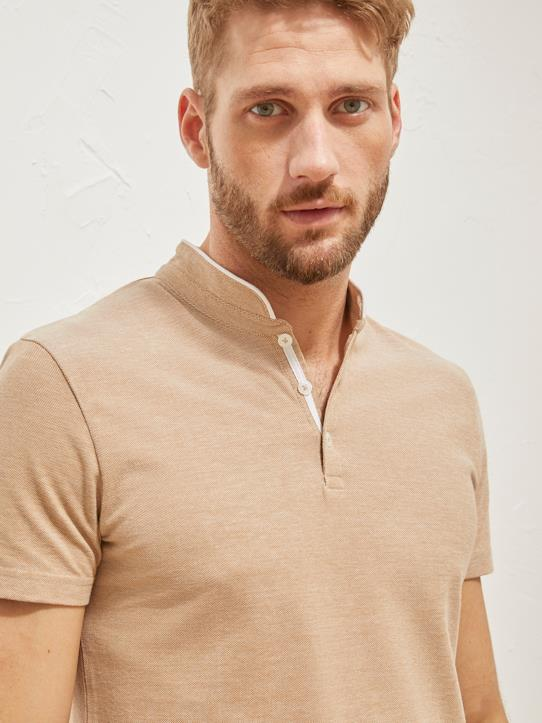 Polo col mao homme Beige
