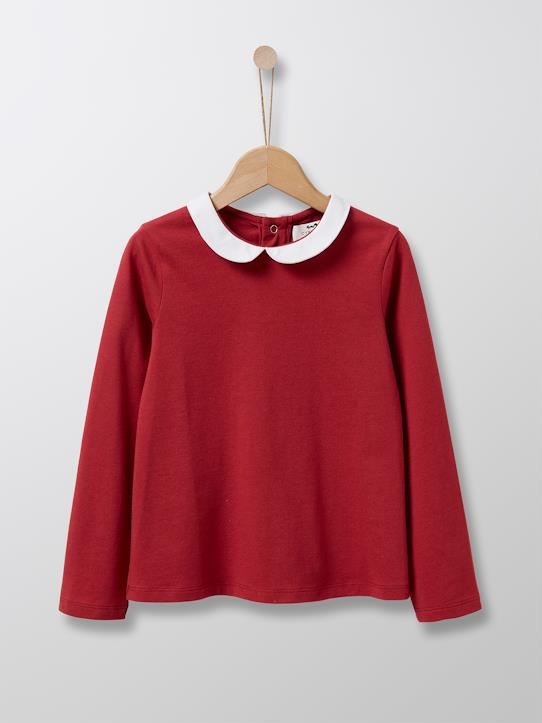 T-shirt col claudine fille Cerise+Moutarde