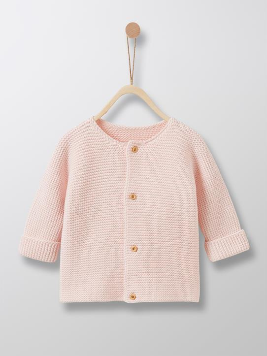 Cardigan point mousse bébé Ecru+Gris Chiné+Rose pâle