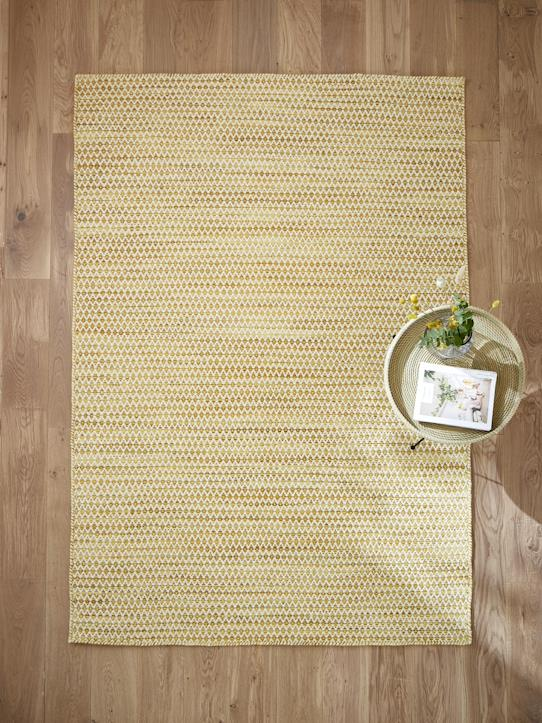 Tapis graphique laine - grand Ocre
