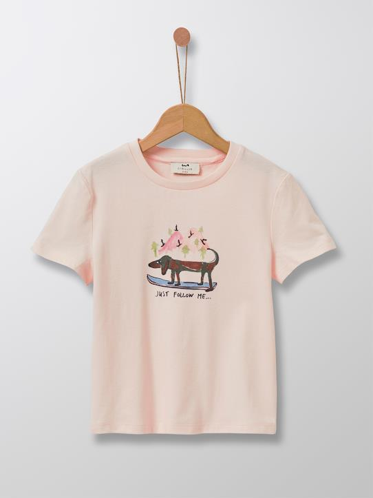 T-shirt illustration Madeleine fille Gris / Renard+Rose pâle / Chien