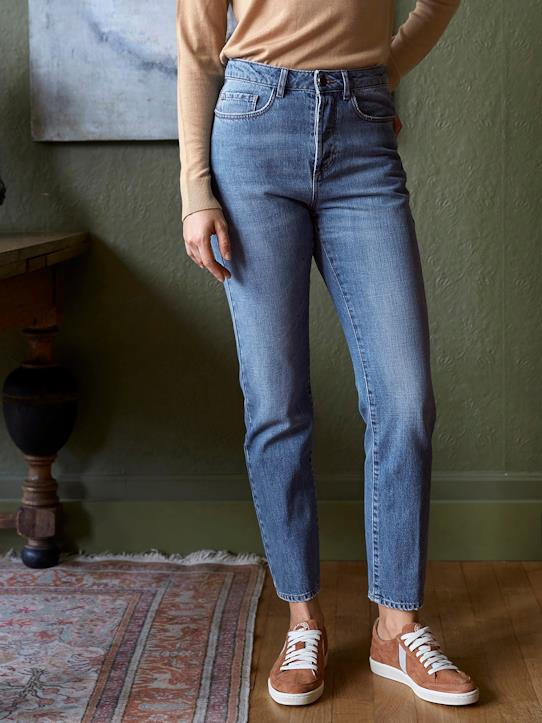 Jean raccourci femme : Le Mom Fit Denim stone