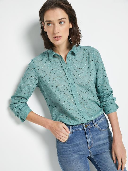Outlet-Femme-Chemise iconique femme en broderie anglaise