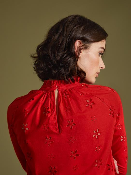 Blouse femme en broderie anglaise Marine+Rouge