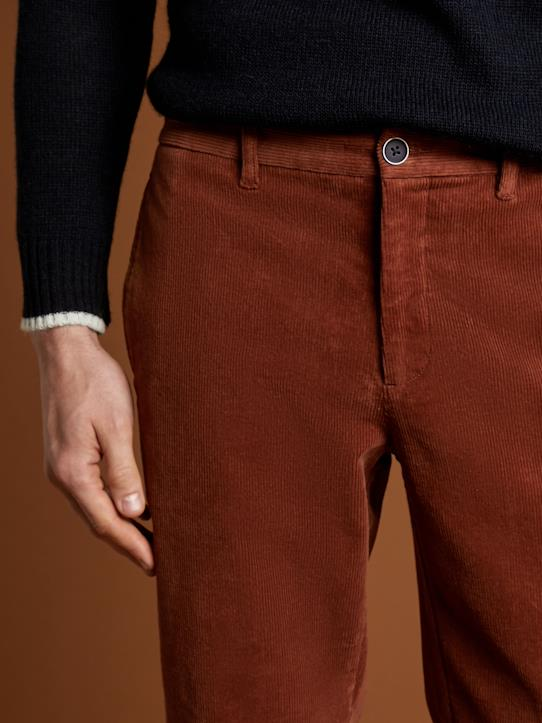 Pantalon velours Regular Fit homme Marine+Marron+Rose brique