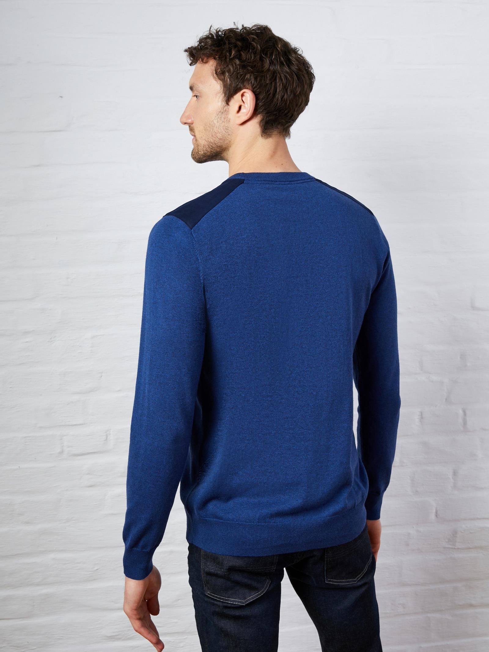 Pull col rond homme patch épaules indigo, Homme Vetement