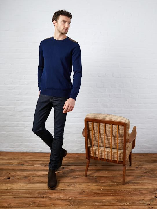 Pull col rond homme patch épaules Indigo