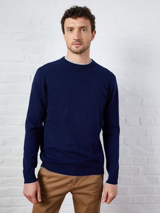 Pull col rond homme Gris clair chiné+Indigo