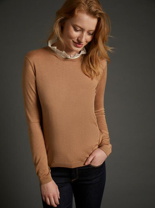 Pull femme col amovible Camel / col froufrou+Encre / col dentelle