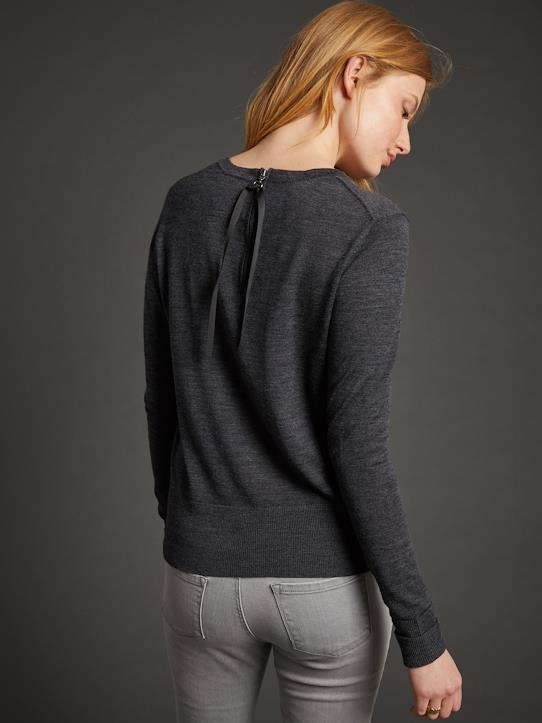 Pull col rond lien dos femme laine mérinos Anthracite+Rouge