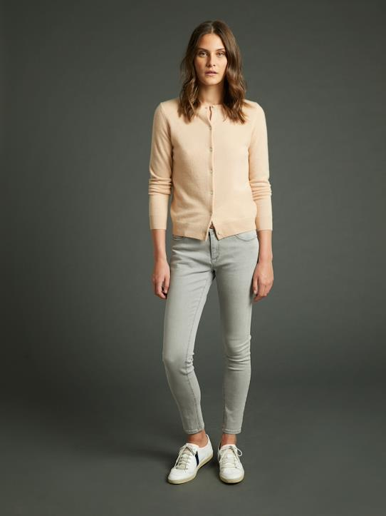 Cardigan col rond cachemire femme Marine+Sable chiné