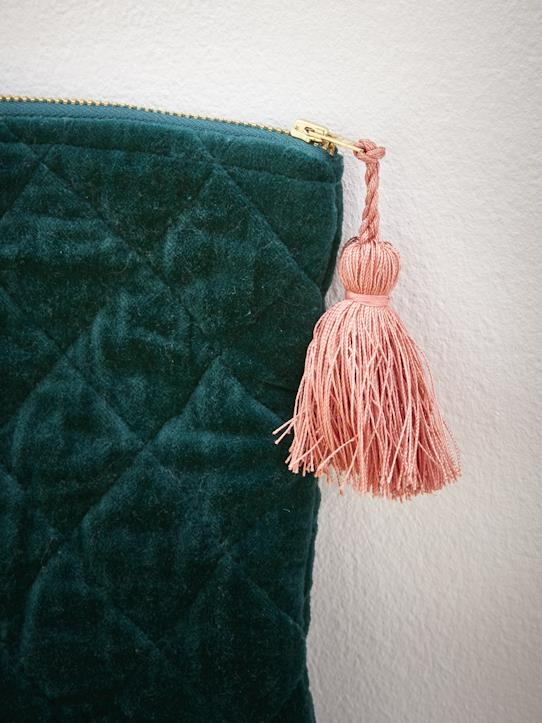 Pochette velours Curry+Vert bouteille