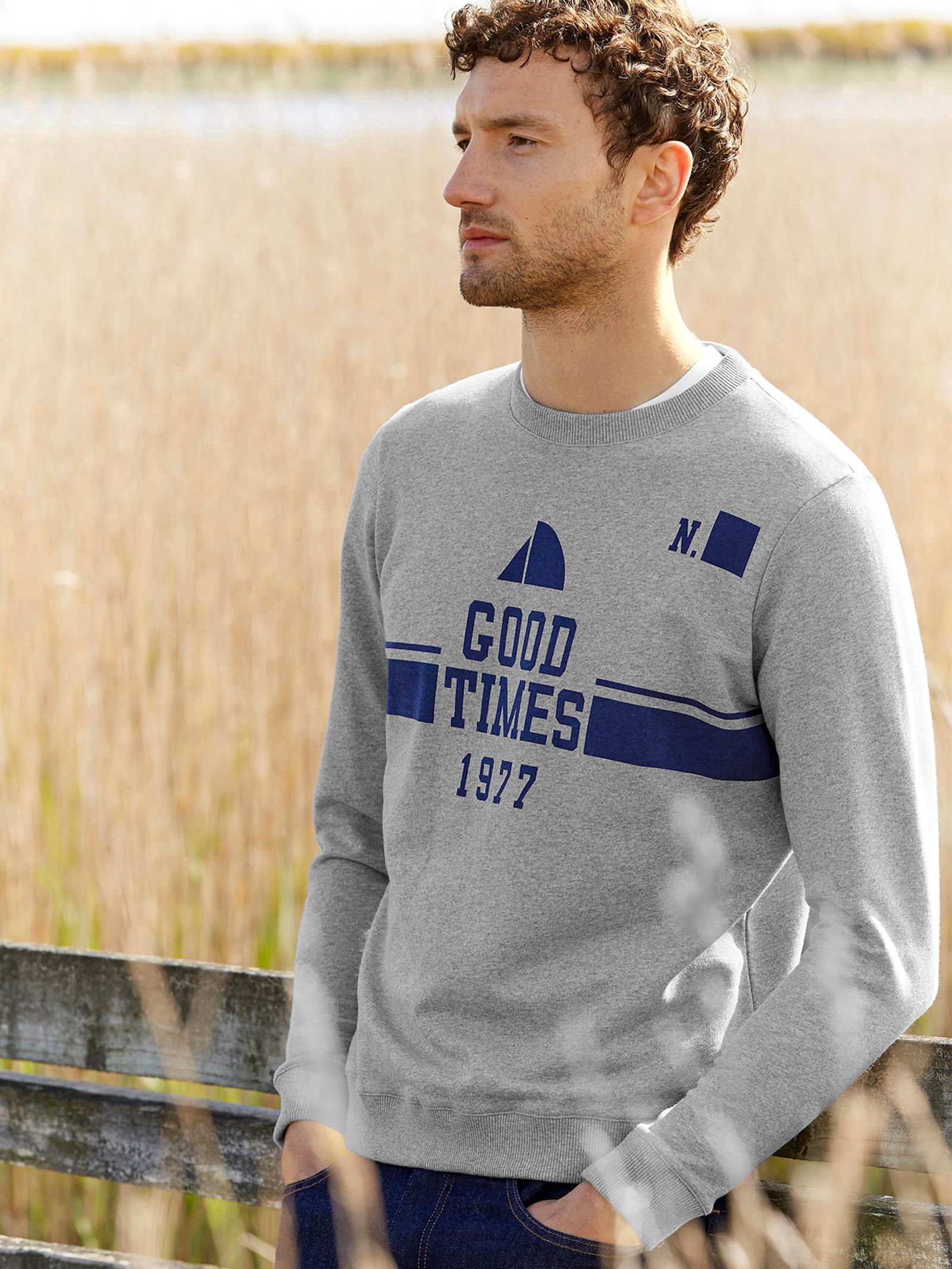 Sweat homme Collection Good Times 1977 gris chiné, Homme