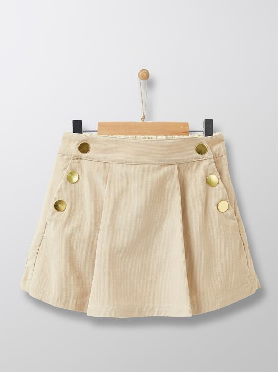 Jupe-short en velours fille Beige