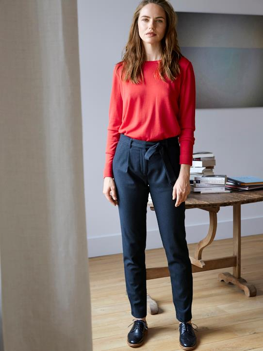 Femme-Pantalons, jeans-Chino-Carrot Pant lainage femme