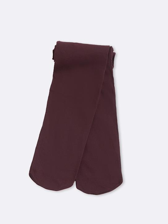 Collant mousse fille Bordeaux+Encre