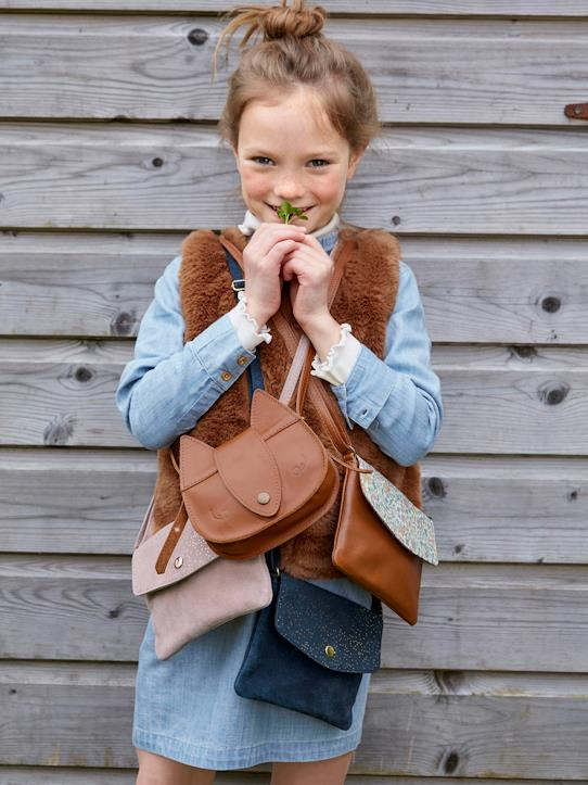 Besace cuir et tissu Liberty fille Camel