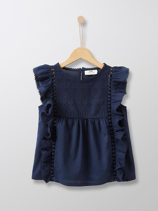 Blouse avec broderie anglaise fille Marine