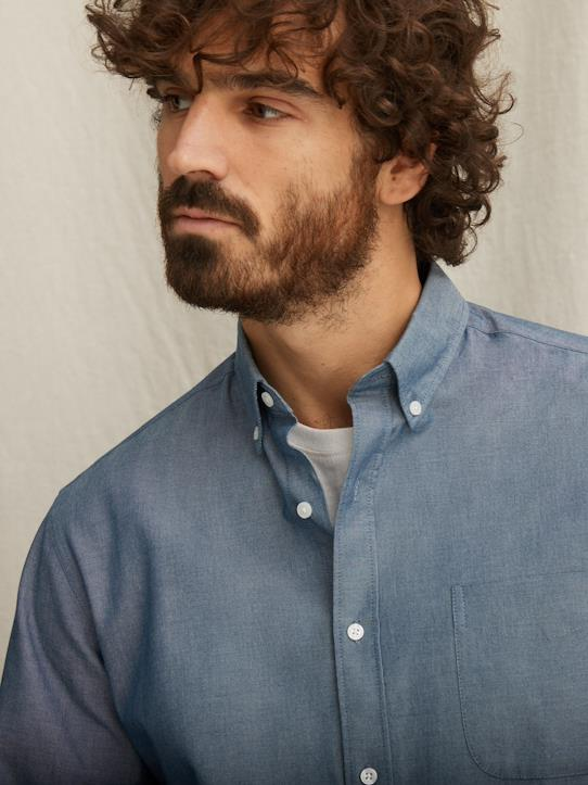Chemise Regular Fit chambray homme Bleu chambray