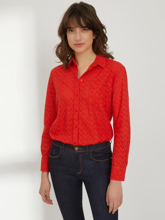 Chemise broderie anglaise femme Rouge dalhia